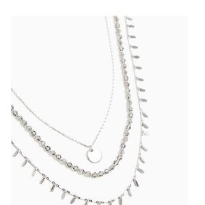 SILVER-TONE COIN LAYERED NECKLACE